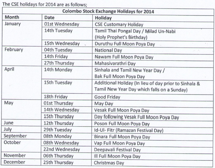 CSE Holidays for 2014 Holida10