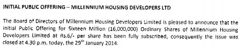Earliest closing date - Millennium Housing Developers Ltd - IPO Ipo10