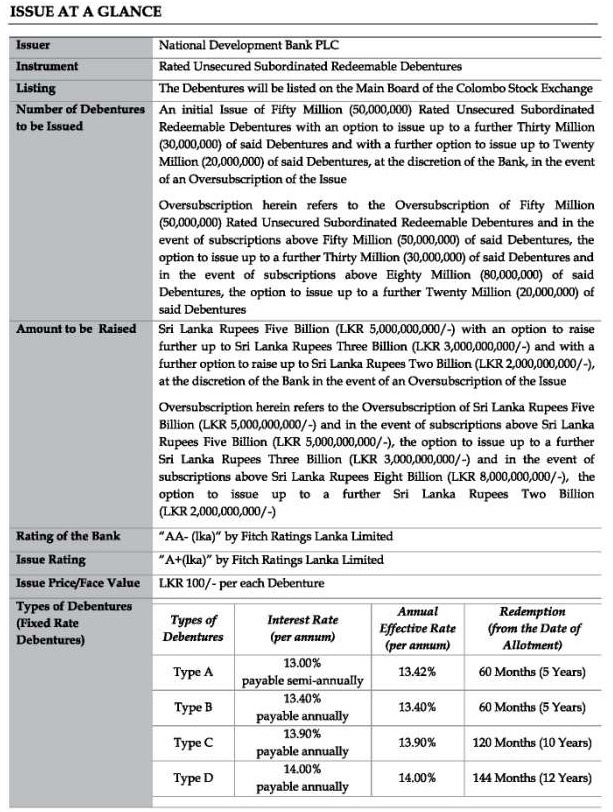 National Development Bank Debenture Issue at a glance Iss110