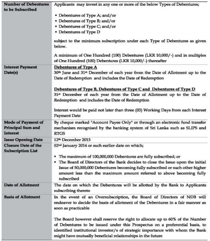 National Development Bank Debenture Issue at a glance Iss210