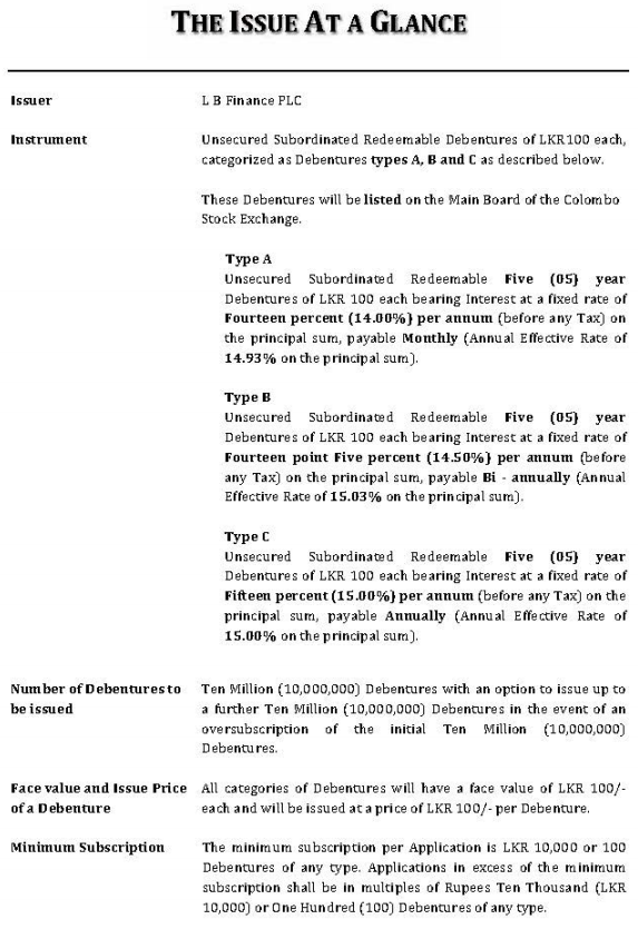 LB Finance Debenture Issue at a glance Lb110