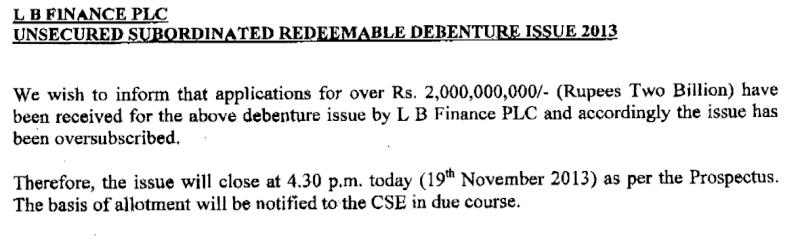 LB Finance Debenture Issue at a glance Lbfina10