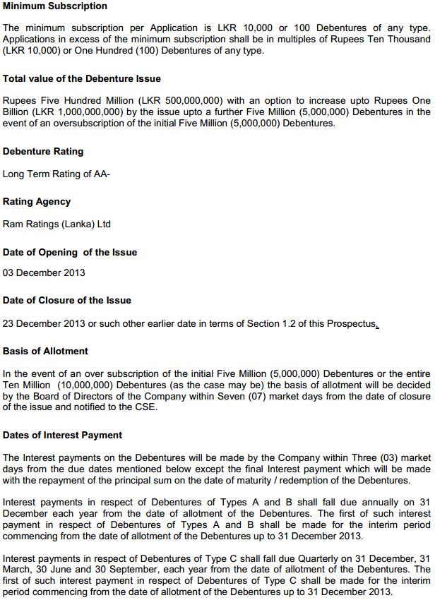 Merchant Bank Debenture Issue at a glance Mec210