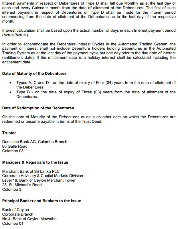 Merchant Bank Debenture Issue at a glance Mec310