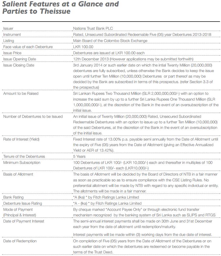 NATIONS TRUST BANK PLC  (NTB.N0000) Ntb11