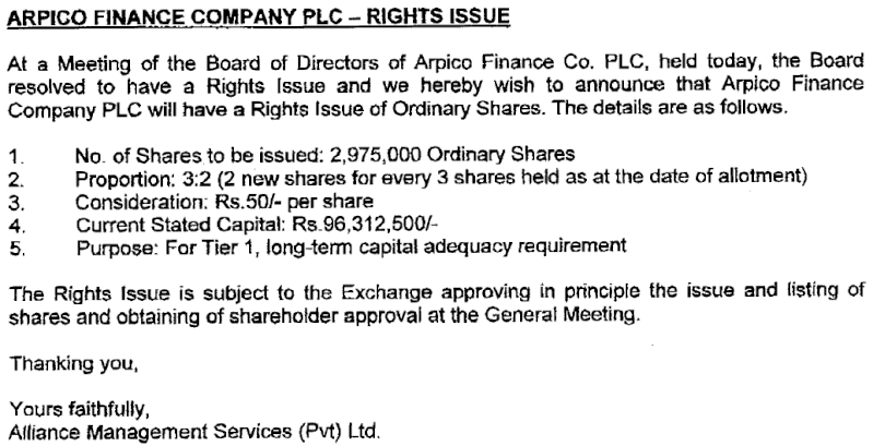 Arpico Finance to raise Rs. 149 m via Rights Right10