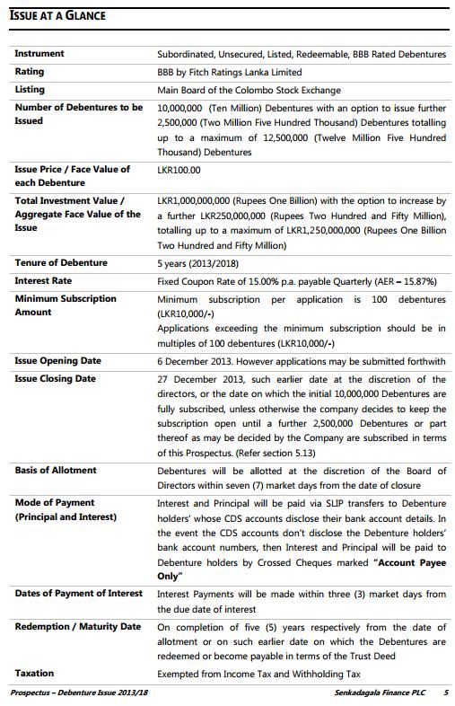 Senkadagala Finance Debenture Issue at a glance Seenka10