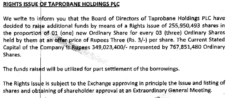 15-Oct-2013 Taprobane Holdings  - Rights Issue  Tapro10