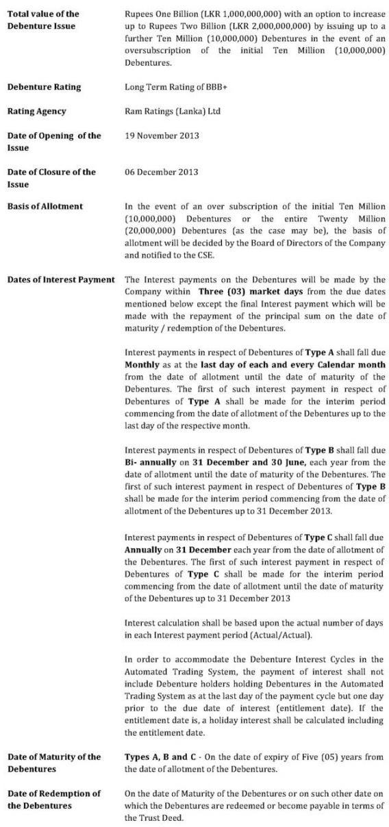 LB Finance Debenture Issue at a glance Untitl12