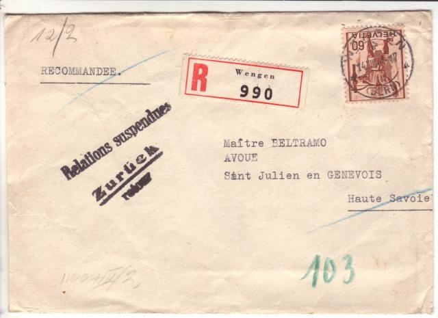 """Lettre de Wengen (CH) du 14.08.1944 pour St. Julien en Genèvois avec censure """"n"""" de Nancy. 1002810"""