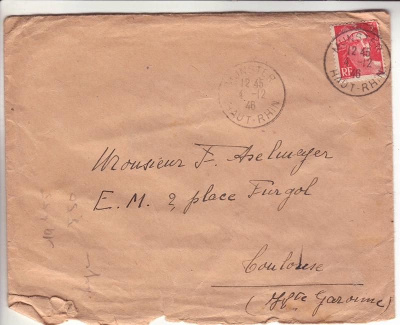 Lettre de Munster (68) du 04.12.1946 pour Toulouse avec contenu censuré!?! 1009011