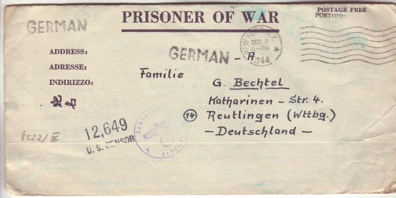 """Pourquoi un cachet """"Geprüft Zensurstelle y"""" en décembre 1944 pas """"Zensurstelle n"""" ?? 1009210"""