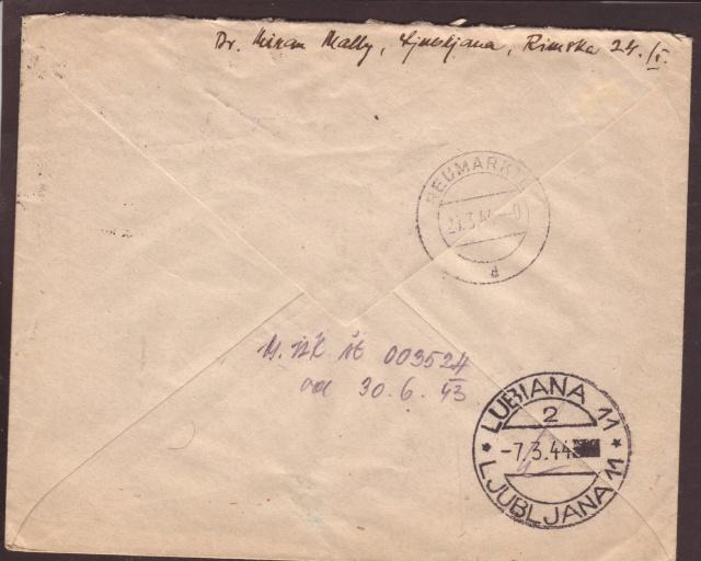 """Cachet """" P.S.S.D."""" sur lettre de Ljubljana ( Slovénie ) 1944. 1d001210"""