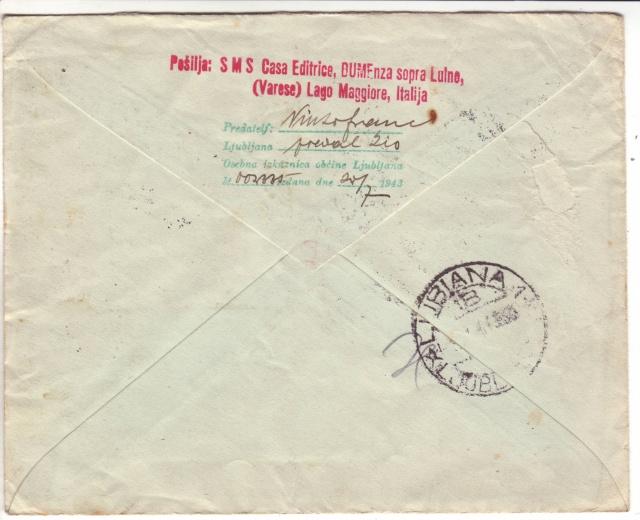 """Cachet """" P.S.S.D."""" sur lettre de Ljubljana de janvier 1944 avec données de l'expéditeur. 1d001510"""