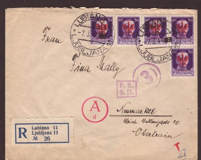 """Cachet """" P.S.S.D."""" sur lettre de Ljubljana ( Slovénie ) 1944. 1f001310"""