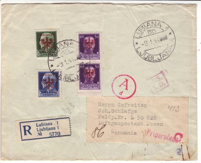 """Cachet """" P.S.S.D."""" sur lettre de Ljubljana de janvier 1944 avec données de l'expéditeur. 1f001610"""