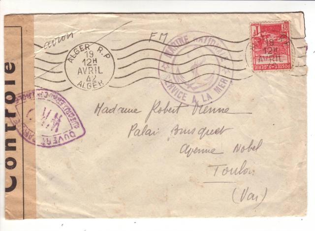 Lettre du pétrolier TARN stationné à Alger en 1942. 1f001910