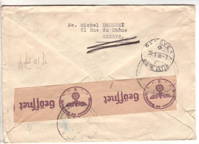 """Lettre de Wengen (CH) du 14.08.1944 pour St. Julien en Genèvois avec censure """"n"""" de Nancy. 2022410"""