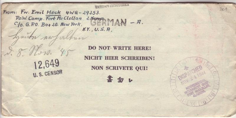 """Pourquoi un cachet """"Geprüft Zensurstelle y"""" en décembre 1944 pas """"Zensurstelle n"""" ?? 2026011"""