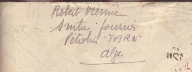 Lettre du pétrolier TARN stationné à Alger en 1942. 3001510