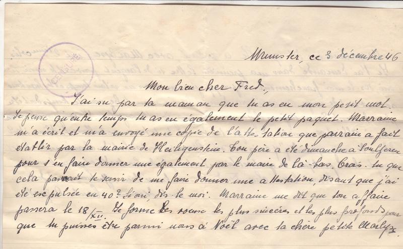 Lettre de Munster (68) du 04.12.1946 pour Toulouse avec contenu censuré!?! 3005311