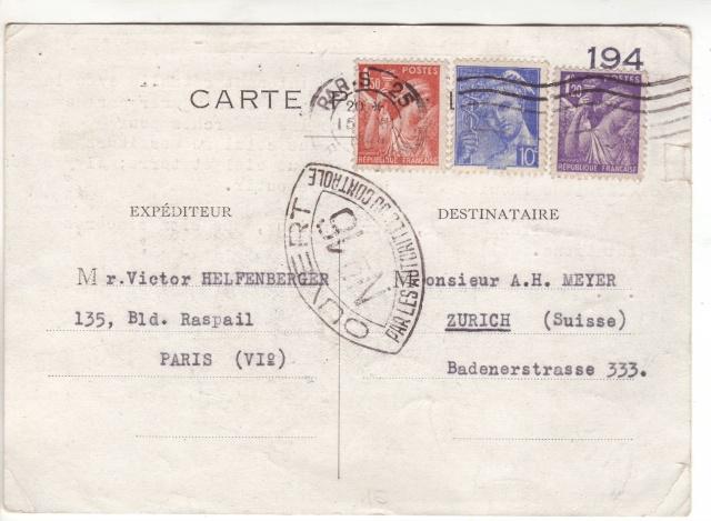 """Lettre de Wengen (CH) du 14.08.1944 pour St. Julien en Genèvois avec censure """"n"""" de Nancy. 4001710"""