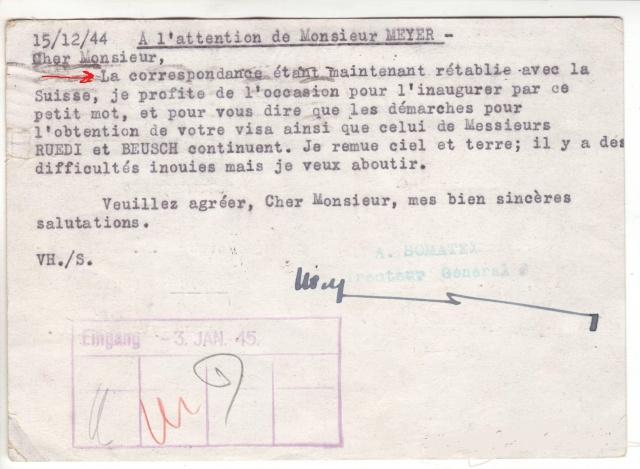 """Lettre de Wengen (CH) du 14.08.1944 pour St. Julien en Genèvois avec censure """"n"""" de Nancy. 5001310"""