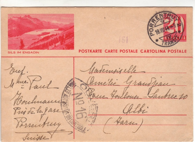 """Lettre de Wengen (CH) du 14.08.1944 pour St. Julien en Genèvois avec censure """"n"""" de Nancy. 6001110"""