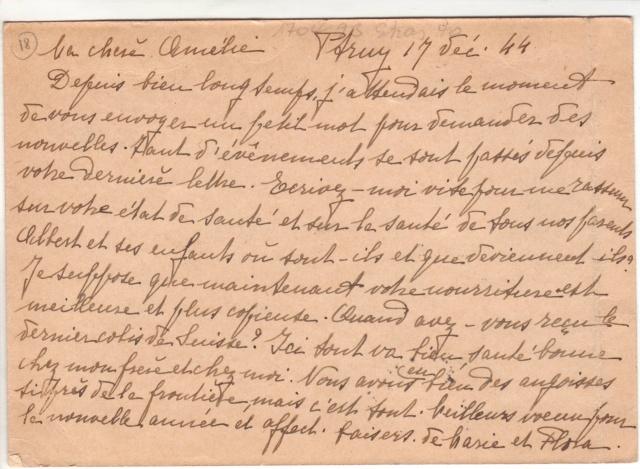 """Lettre de Wengen (CH) du 14.08.1944 pour St. Julien en Genèvois avec censure """"n"""" de Nancy. 7000910"""