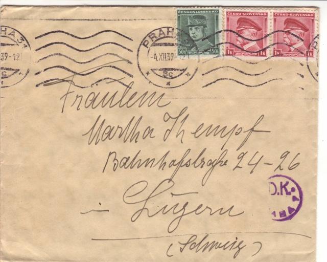 Bohème et Moravie - Utilisation de timbres tchèques. 8000310