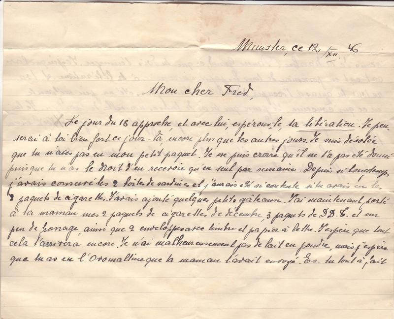 Lettre de Munster (68) du 04.12.1946 pour Toulouse avec contenu censuré!?! 8002510