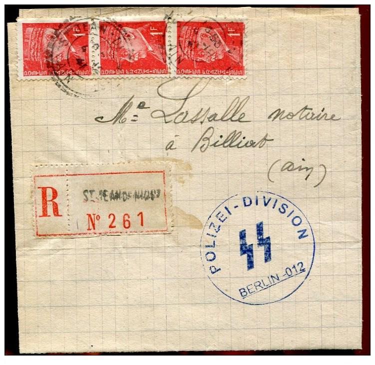 Courrier interieur de 1941 - département de l'Ain avec un cachet de la Police allemande !! 941_0012