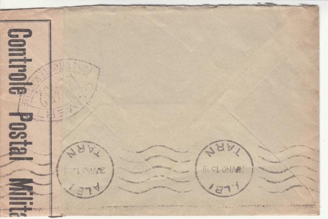 Lettre de la Base aérienne mixte d'Orly pour Albi avec censure WN?? _1000019
