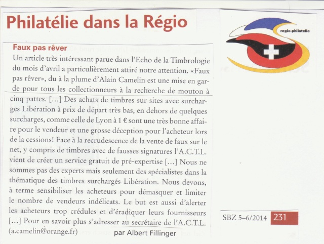 Faux pas rèver, article parut dans le Journal Philatélique Suisse -Juin 2014.  _1000112