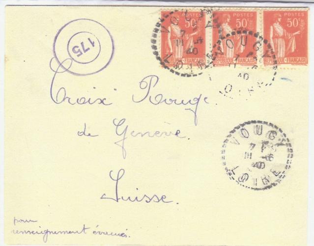 """Cachet circulaire double cercle """"175"""" sur lettre de la France pour le CICR. _1000414"""