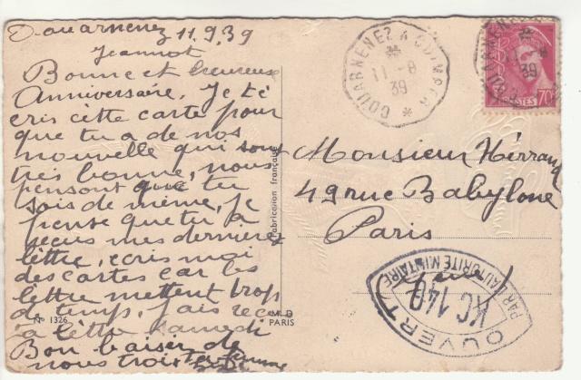 Tarif des cartes postales pendant la Deuxième Guerre mondiale _1000710