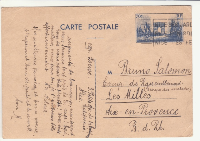 Tarif des cartes postales pendant la Deuxième Guerre mondiale _1001110