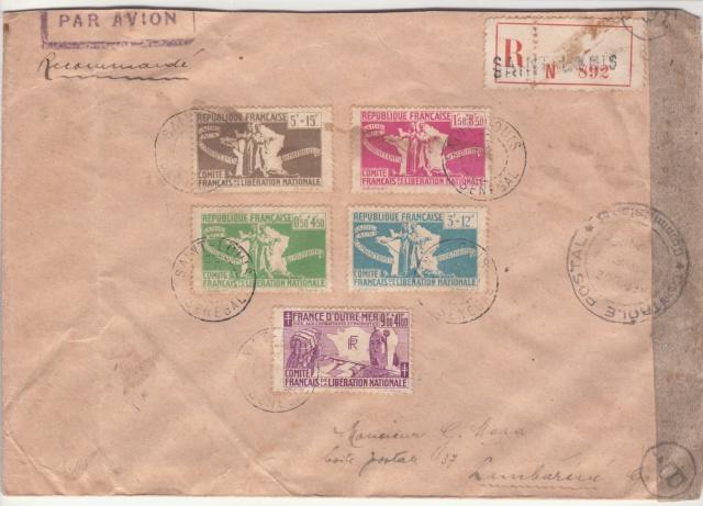 Série C.F.L.N. sur lettre de St. Louis (Sénégal) pour le Gabon. _1001413