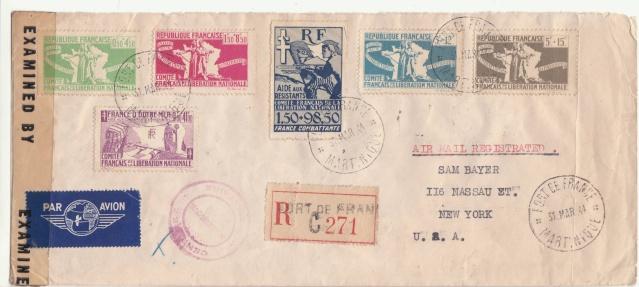 Série C.F.L.N. sur lettre de Fort de France du dernier jour 31.03.1944. _1001511