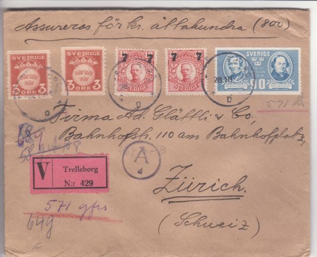 Lettre en VD (valeur déclarée) de Suède pour la Suisse 1943 _1f00210