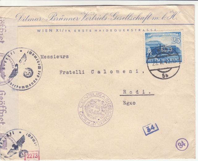 Censure italienne de Rhodes - Dodécanèse - Egée. _1f00212
