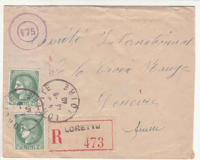 """Cachet circulaire double cercle """"175"""" sur lettre de la France pour le CICR. _2000510"""