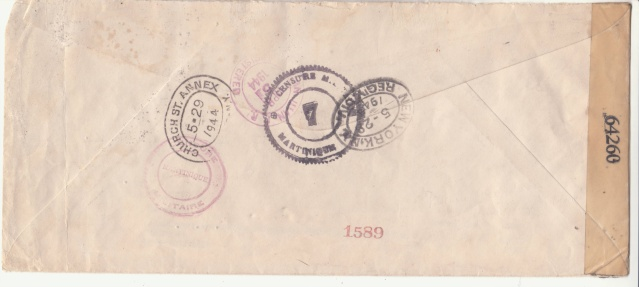 Série C.F.L.N. sur lettre de Fort de France du dernier jour 31.03.1944. _2001411