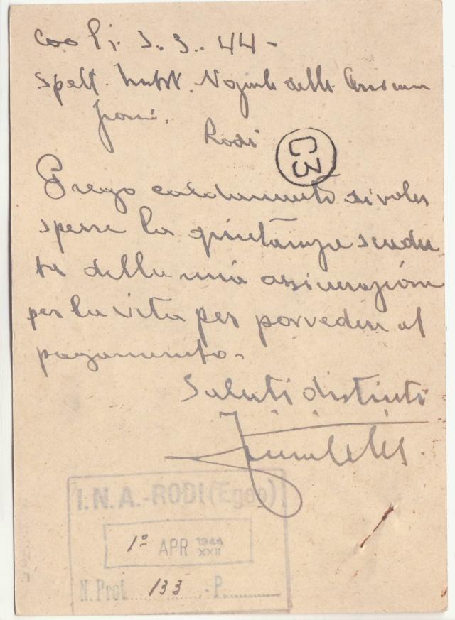 Censure italienne de Rhodes - Dodécanèse - Egée. _2d00211