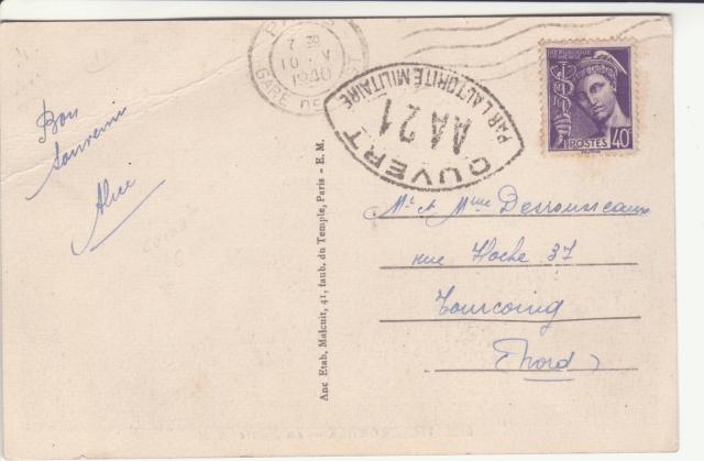 Tarif des cartes postales pendant la Deuxième Guerre mondiale _3000711