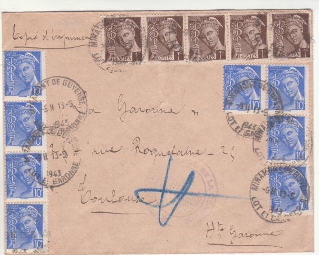"""Cachet """"Section Locale de la Censure / Marmande"""" sur lettre de mai 1943. _3000912"""