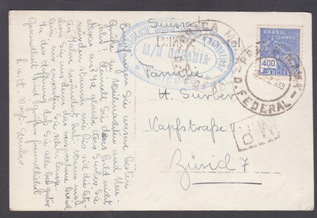 """Lettre de Rio transportée par le Paquebot """"Océania"""" 1939 _5001211"""