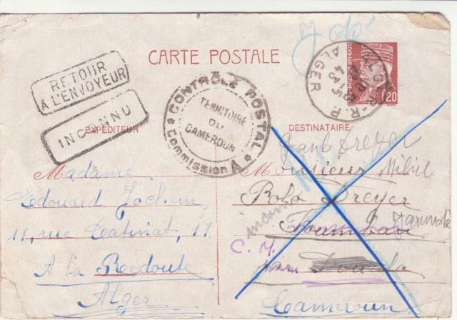 Utilisation des entiers Iris et Pétain et cartes interzones hors de France _7000611