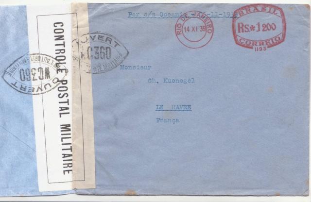 """Lettre de Rio transportée par le Paquebot """"Océania"""" 1939 _8000610"""