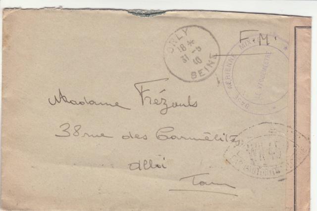 Lettre de la Base aérienne mixte d'Orly pour Albi avec censure WN?? _9000314